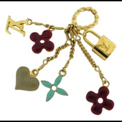 Louis Vuitton Gold Sweet Monogram Heart Lock Keychain 211135 Charm