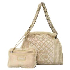 Chanel Chain Tote W/ Pouch 226196 Beige Shearling Wool Shoulder Bag