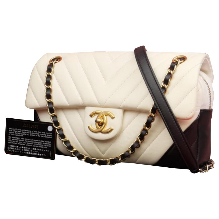 0c9b7b81a97a08 Chanel Classic Flap Bicolor Chevron 228167 Black X White Leather Cross Body  Bag For Sale