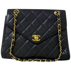 9ec28526ec77 Chanel Classic Flap Quilted Caviar Pointed 228308 Black Leather Shoulder Bag