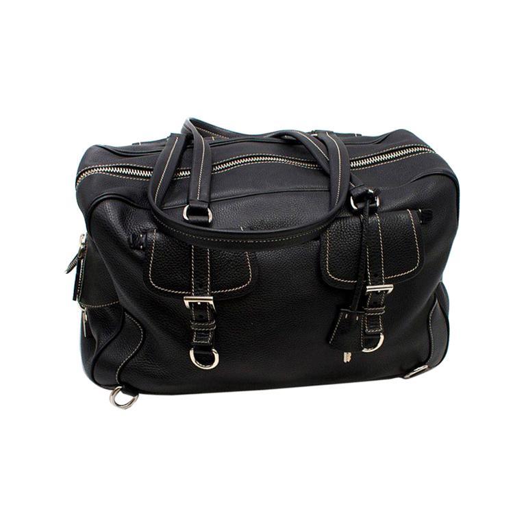 67b586e086dc Prada Black Leather Travel Holdall For Sale at 1stdibs