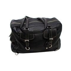 Prada Black Leather Travel Holdall