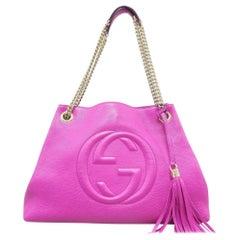 Gucci Soho Fringe Tassel Fuchsia Chain Tote 869084 Pink Leather Shoulder Bag