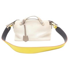 Fendi By The Way 2way Boston 869382 White Leather Shoulder Bag