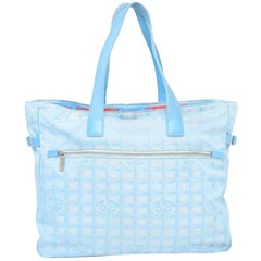 Chanel New Line Travel Gm 228259 Light Blue Quilted Nylon X Leather Tote