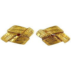 Chanel Vintage Gold Toned Ribbon Motif Clip-On Earrings