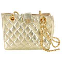 Chanel Metallic Quilted Chain Tote 868895 Gold Leather Shoulder Bag