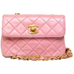 Chanel Classic Flap Mini 226715 Pink Leather Cross Body Bag