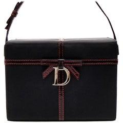 d149c7bd79a0 Dior Ribbon Box Vanity 228292 Black X Red Leather Nylon Clutch