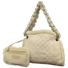 Chanel Hobo Quilted Chain 226579 Beige Shearling Wool Shoulder Bag