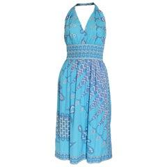 Vintage Emilio Pucci Cotton Summer Halterneck Dress