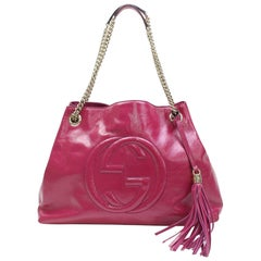 Gucci Soho Chain Tote 867472 Fuchsia Patent Leather Shoulder Bag