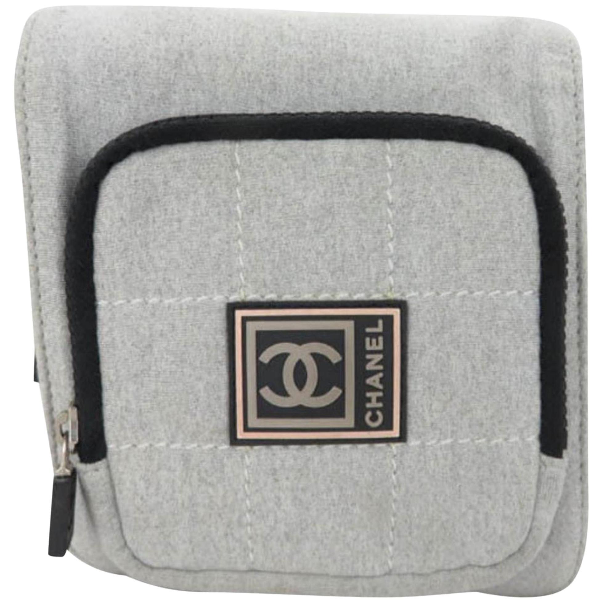 e4c9efcc7da2 Chanel Cc Logo Sport Waist Pouch Fanny Pack 867345 Grey Cotton Cross Body  Bag at 1stdibs