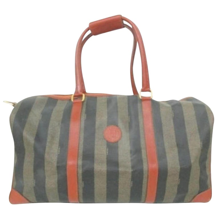 d7cddf2c111b Fendi Pequin Stripe Boston Duffle 228051 Tobacco Coated Canvas X Leather  Weekend For Sale