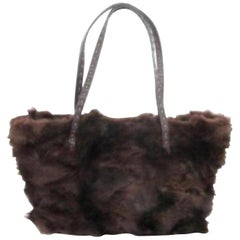 Fendi Shopper Tote 227987 Brown Fur X Leather Shoulder Bag