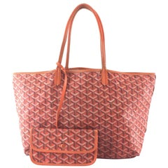 Goyard Chevron St. Louis with Pouch 867994 Orange Coated Canvas Tote