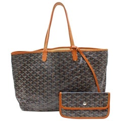 Goyard Goyardine Chevron St Louis with Pouch 867951 Black Coated Canvas Tote