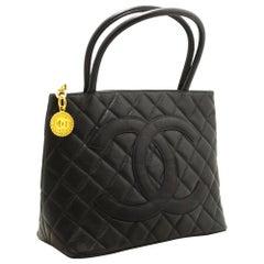 5260a4b2e8ac CHANEL Gold Medallion Caviar Shoulder Shopping Tote Bag Black