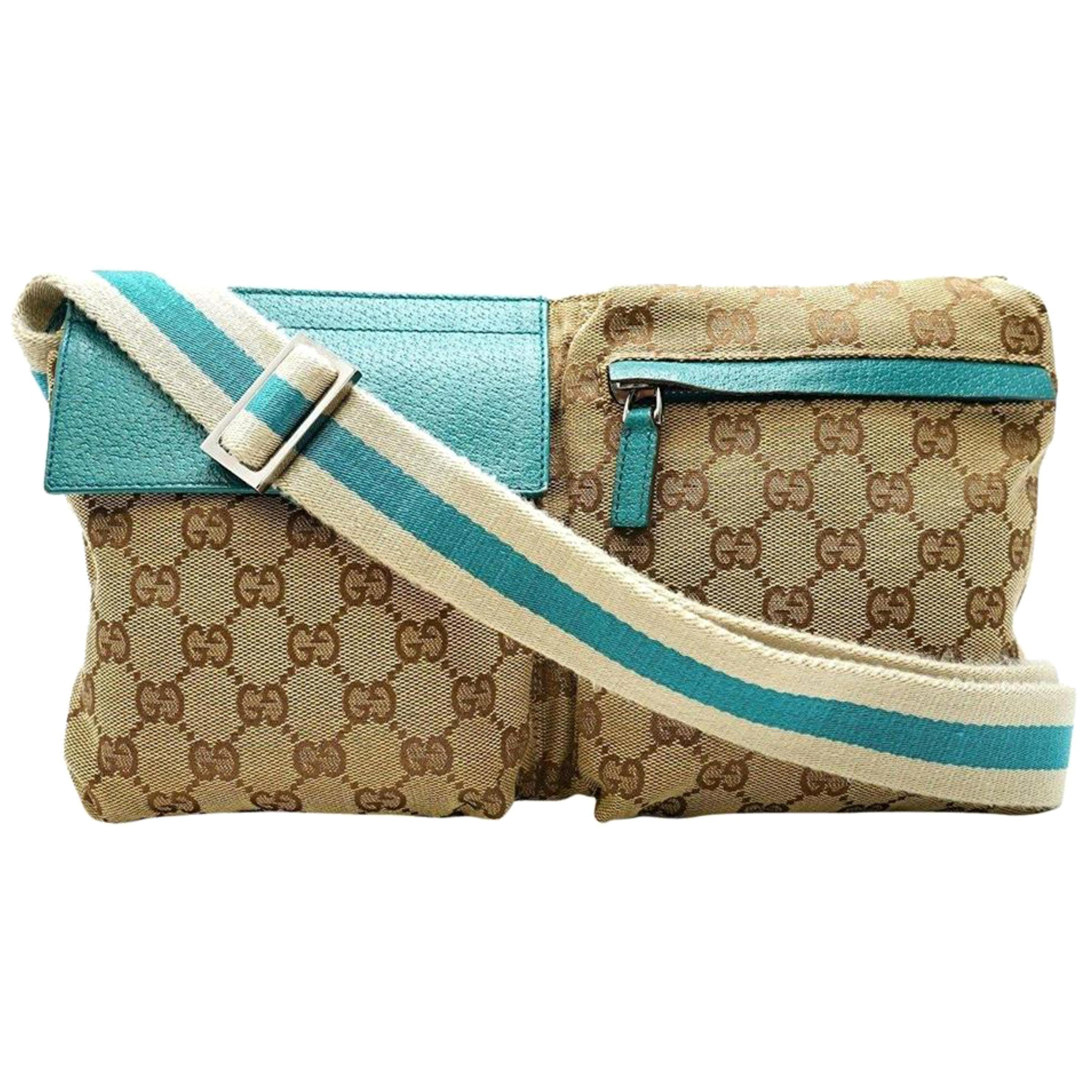 15b787f2f18271 Gucci Monogram Gg Belt Waist Pouch 228313 Torquoise Coated Canvas Cross  Body Bag For Sale at 1stdibs
