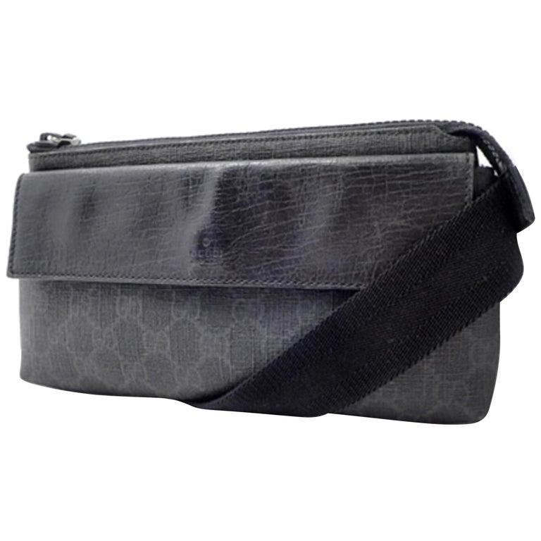 6fe82c03111 Gucci Monogram Gg Belt Waist Pouch 228338 Black Supreme Canvas Cross Body  Bag For Sale