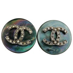 Chanel Vintage Mother of Pearl Jewelled CC Clip-On Earrings
