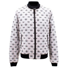Dolce & Gabbana white crown print bomber jacket M
