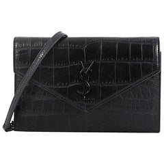 Saint Laurent Classic Monogram Wallet on Chain Crocodile Embossed Leather