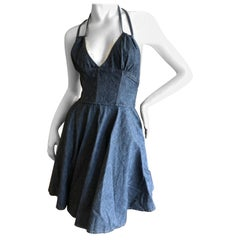 D&G Dolce & Gabbana Vintage Denim Dress with White Lace Petticoat