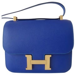 Hermès Blue Electric & Paon Epsom HSS Horseshoe Bi-Color Constance III 24 cm
