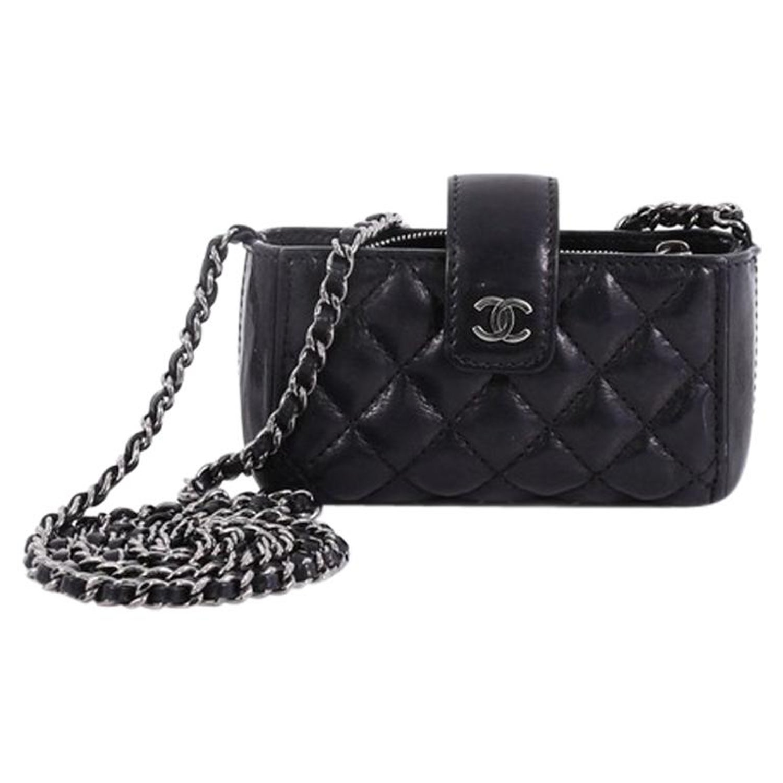 013bae9a6b80 Chanel Chain Phone Holder Crossbody Bag Quilted Lambskin Mini at 1stdibs