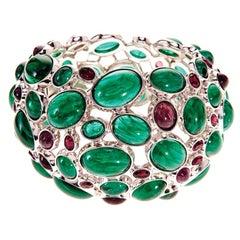 Simon Harrison Amphitrite Handmade Glass & Cabochon Emerald Bangle