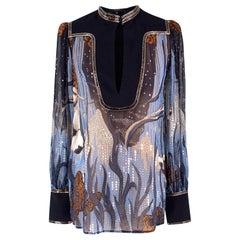 Gucci sheer embellished silk patterned shirt US 0-2