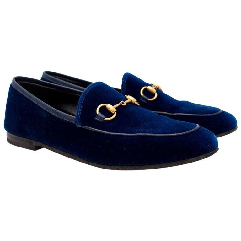 483f2f112c2 Gucci Jordaan Velvet Loafers US 5.5 For Sale at 1stdibs