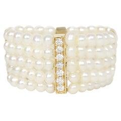 Anissa Kermiche Plurielle Doree Five Row Pearl Ring w/ Diamonds Sz 6.5 rt $1,800