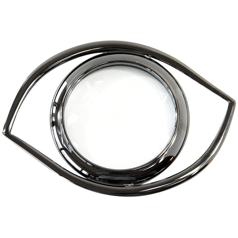 Hermes Ruthenium Magnifying Glass / Paperweight Eye of Cleopatra For Sale