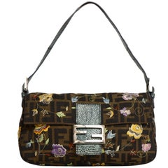 Fendi Tan FF Monogram Zucca Baguette Bag W/ Floral Embroidery & Lizard Trim