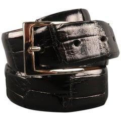 W. KLEINBERG Size 34 Black Alligator Belt