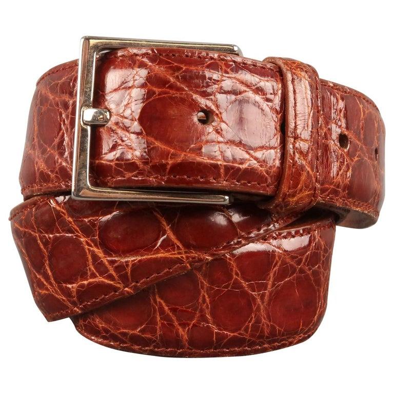 LONGHI Size 34 Brown Belt For Sale