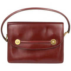 60's Hermes Vintage Piano Burgundy Box Leather Bag