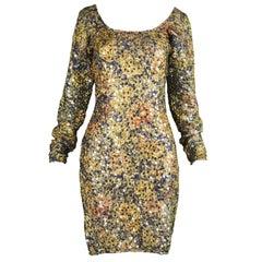 Helen Storey Textured Gold & Bronze Lamé Vintage Sequin Party Dress, 1990s