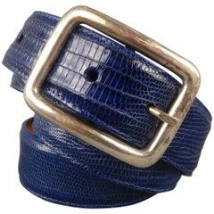 PAT AREIAS Size 34 Royal Blue Lizard Belt