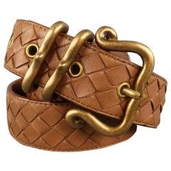 BOTTEGA VENETA Size 34 Brown Braided Leather Belt