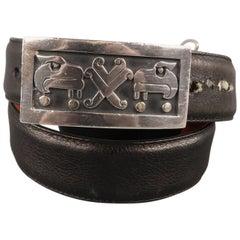 COACH Sterling Size 32 Black Leather Belt