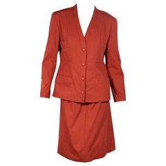 Bright Orange Vintage Chanel Skirt Suit Set