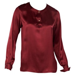 Red Vintage Chanel Silk Blouse