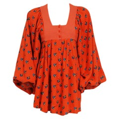 1969 Jeff Banks Orange Floral Print Cotton Billow-Sleeve Empire Mini Dress