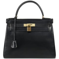"HERMES c.1970 ""Kelly Retourne"" 28 cm Black Box Calf Leather Top Handle Purse"