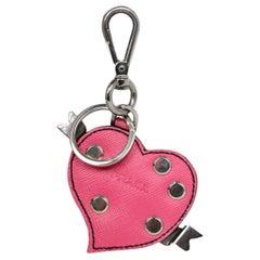 Prada Pink Saffiano Leather Heart Bag Charm/Key Chain
