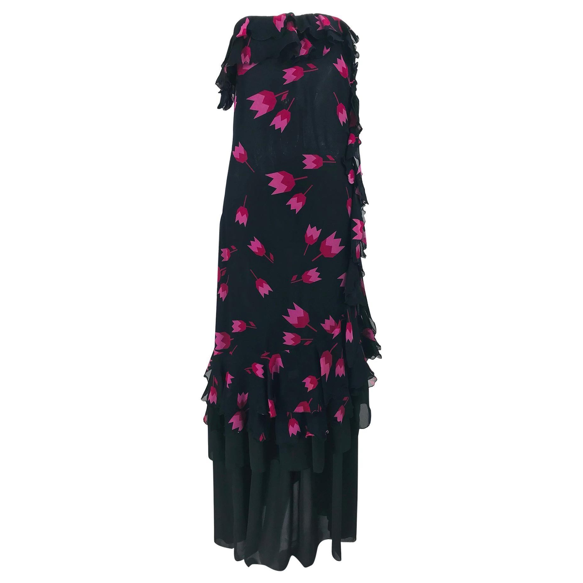 Christian Dior Boutique Paris Tulip print Strapless layered  Maxi Dress 1970s