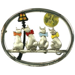 Coro Moon Gazing Cat Brooch
